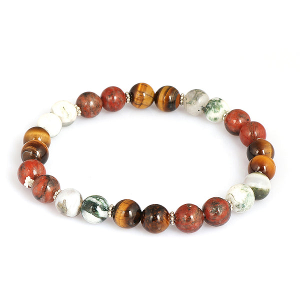 Natural Tiger Eye Beads Bracelet 7-8 mm, Red Jasper Bracelet, Tree Agate Bracelet, Mix Gemstones Beads Bracelet Stretch Bracelet For Gift