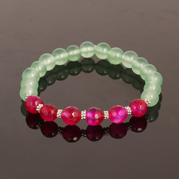 Natural Green Fluorite Beads Bracelet, Red Quartz Bracelet with Silver Beads Bracelet, Beaded Stretch Bracelet, Healing Stone Bracelet
