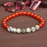 Natural Agate Beads Bracelet, Carnelian Beads Bracelet, Beaded Stretch Bracelet, 7-8 mm Beads Bracelet, Healing Stone, For Men Or Women