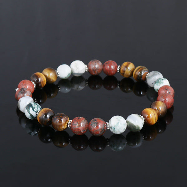 Natural White And Green Agate Bracelet, With Tiger Eye Beads Bracelet, Stretch Bracelet 7-8 mm Beads, Healing Stone, For Men Or Women