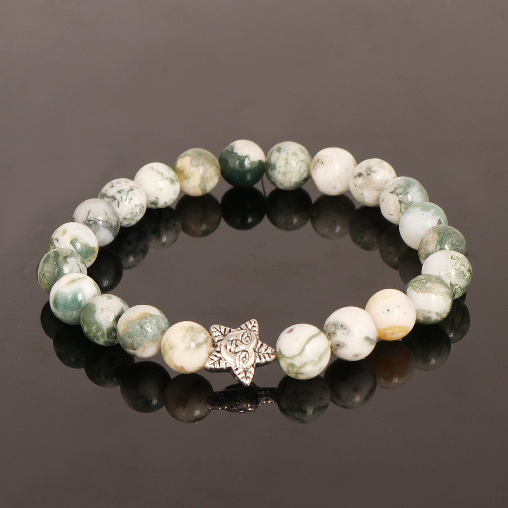 Natural Multi-Color Agate Beads Bracelet, Oxidized Star Moon, Stretch Bracelet, 7-8 mm Beads, Red & White Stone, Chakra Healing Stone,