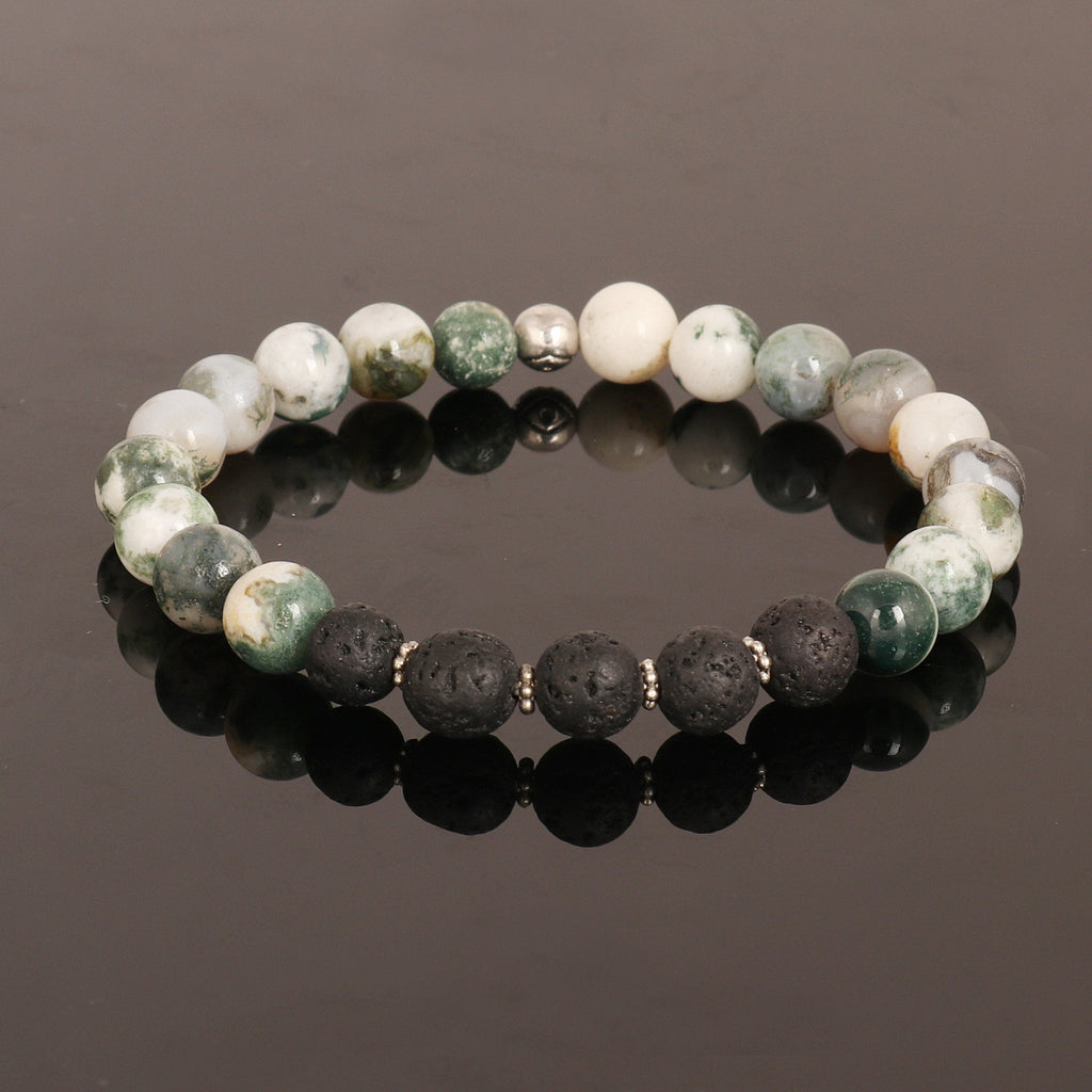 Natural Green And White Agate Beads Bracelet, Black Lava Stone Bracelet, Silver Ball Charm, Stretch Bracelet, 7-8 mm Beads, Chakra Healing