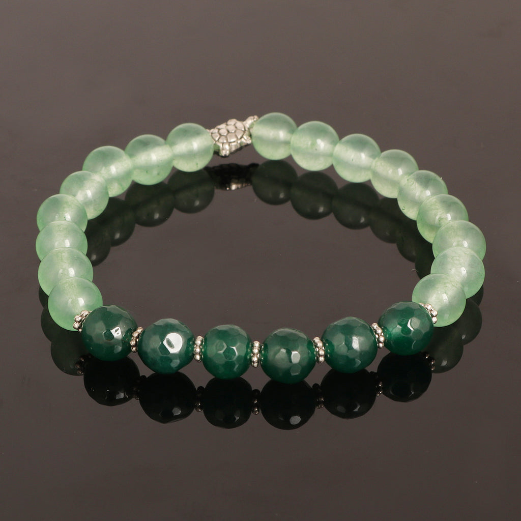 Natural Green Fluorite Stone And Green Serpentine Stone Beads Bracelet, Stretch Band Bracelet, 7-8 mm Gemstone Beads, Chakra Healing Stone