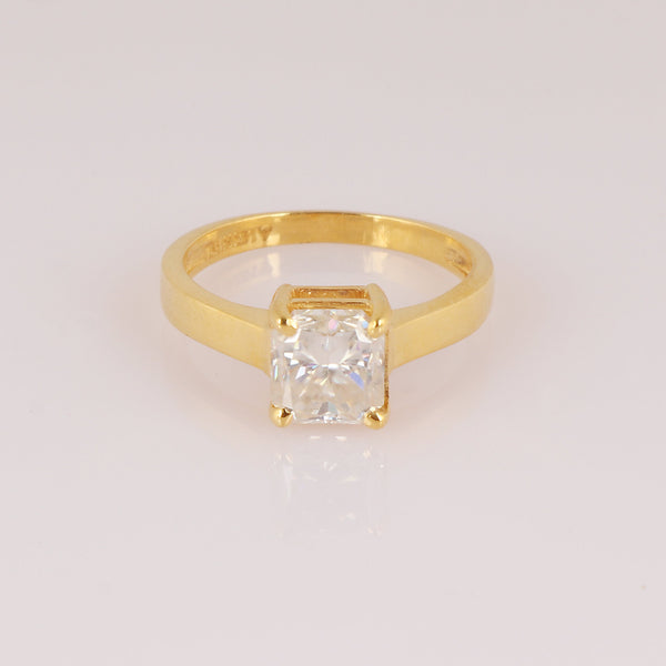 White Moissanite 1 Ct. Diamond Princess Cut Solitaire Gold Ring, 18K Gold Ring, Wedding Ring, Engagement Ring, Forever One Princess Cut Ring
