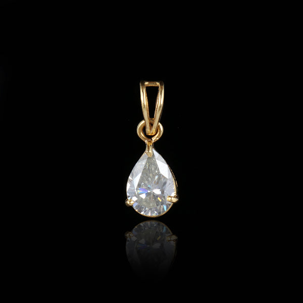 14k Yellow Gold 3.50 Ct. Moissanite Pendant, Moissanite Diamond Pendant, Pear Shape Moissanite Pendant, Wedding Gift, Video Uploaded