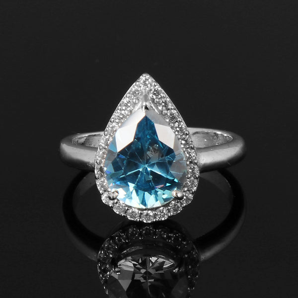 Blue Topaz & White Accent Gemstone 925 Sterling Silver Ring, Video Uploaded