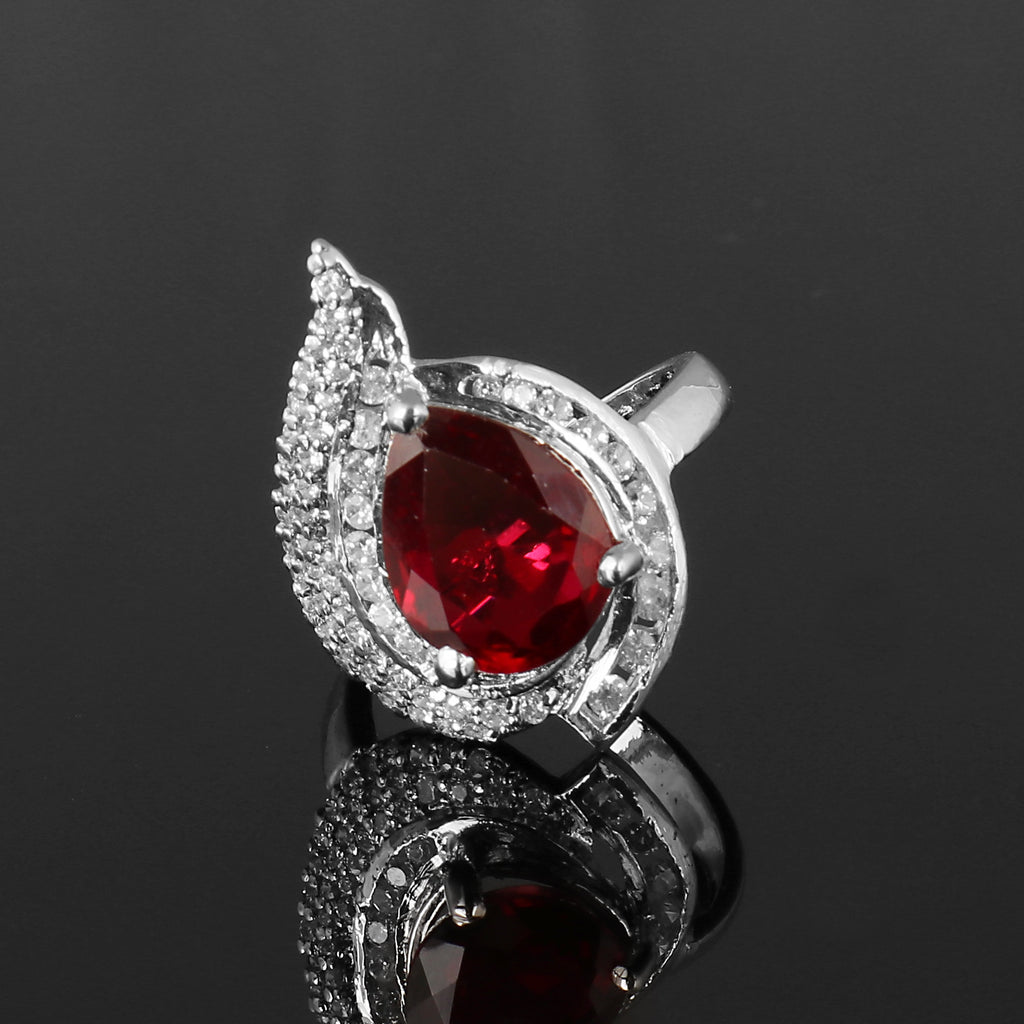 Red Ruby & White Accent Gemstone 925 Sterling Silver Ring, Engagement Ring, Video Uploaded