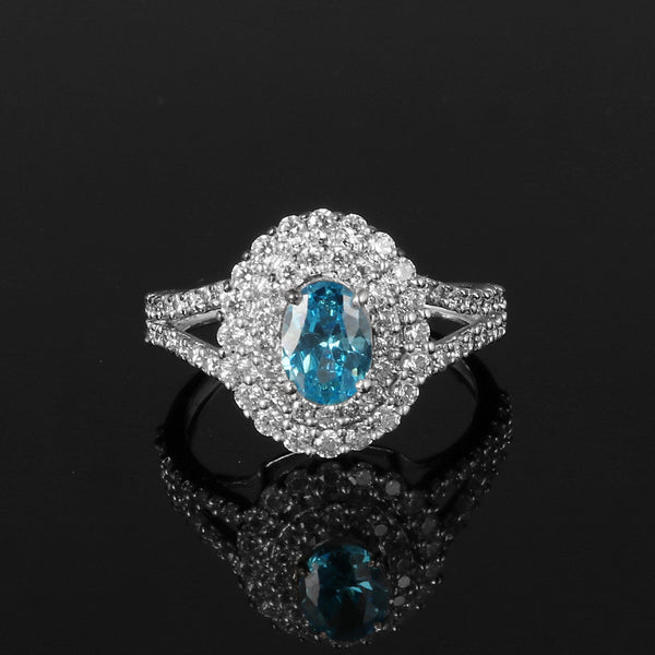 Oval Shape Swiss Blue Topaz & White Accent Gemstone 925 Sterling Silver Ring, Engagement Ring, Video Uploaded