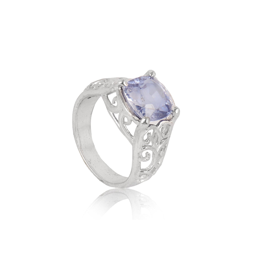 Blue Tanzanite Cushion Cut Gemstone & White Accent Stone, 925 Sterling Silver Ring, Engagement Ring, Video Uploaded