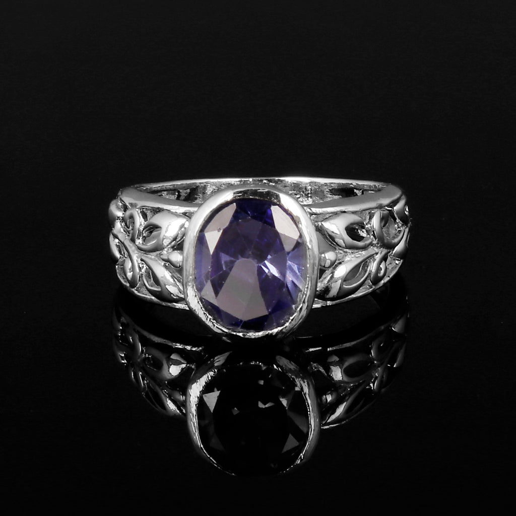 Brilliant Oval Cut Royal Blue Sapphire Gemstone 925 Sterling Silver Ring, Video Uploaded