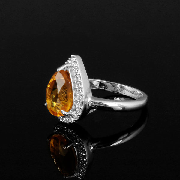 Beautiful Pear Cut Yellow Citrine Gemstone 925 Sterling Silver Ring, Video Uploaded