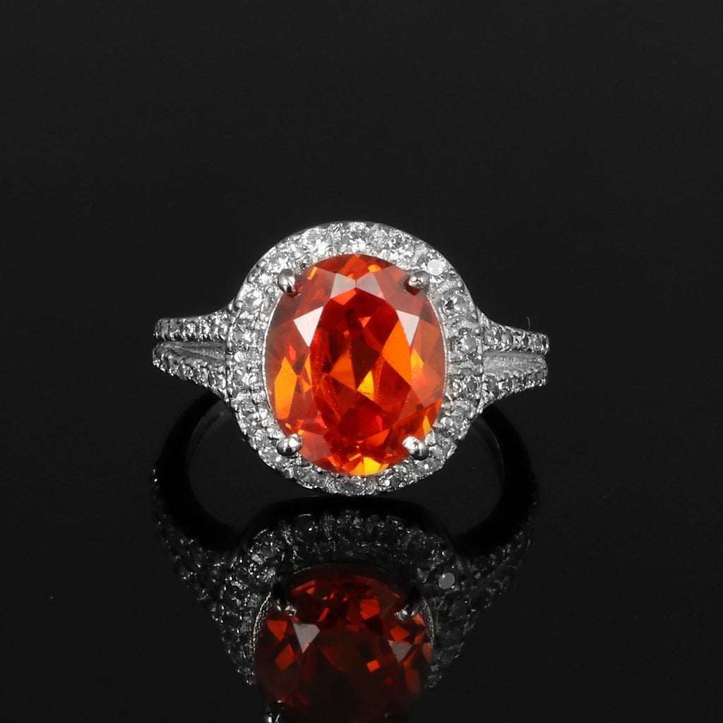 Oval Cut Orange Zircon & White Accent Gemstone 925 Sterling Silver Ring, Video Uploaded