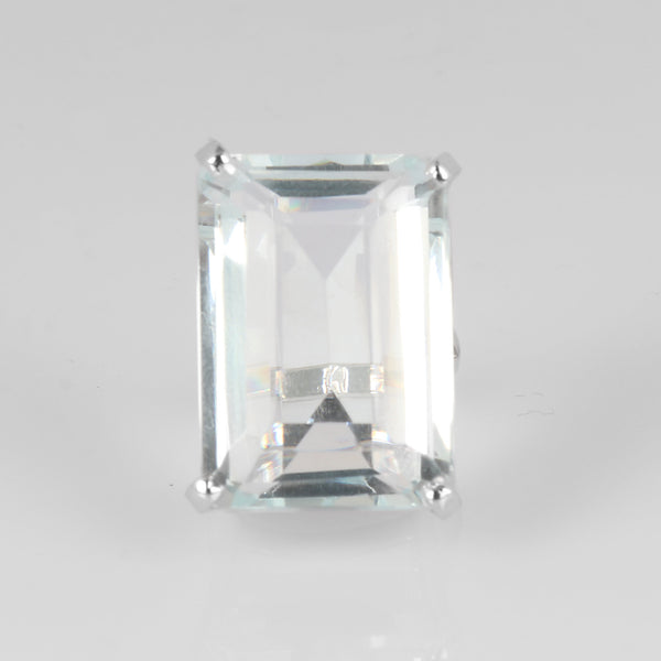 Big Size Emerald Cut Blue Aquamarine Ring, Party Wear Ring, 925 Sterling Silver Ring, Video Uploaded