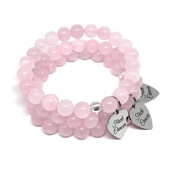 THE F-CANCER ROSE QUARTZ MALA BRACELET