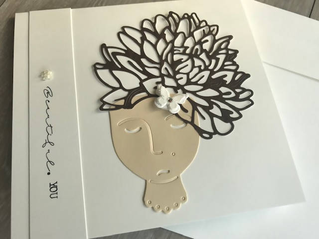 Greeting Card Lady cutout with elegant hair