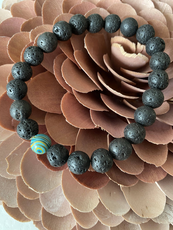 Malachite and Lava Stone Gemstone Bracelet