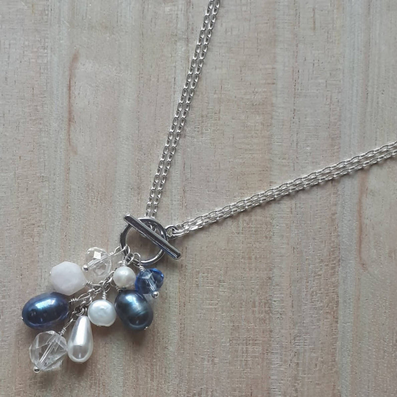 Convertible Necklace - Blue Freshwater Pearl