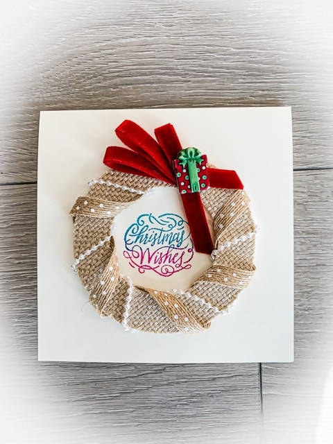 CHRISTMAS CARD BURLAP WREATH DECORATED
