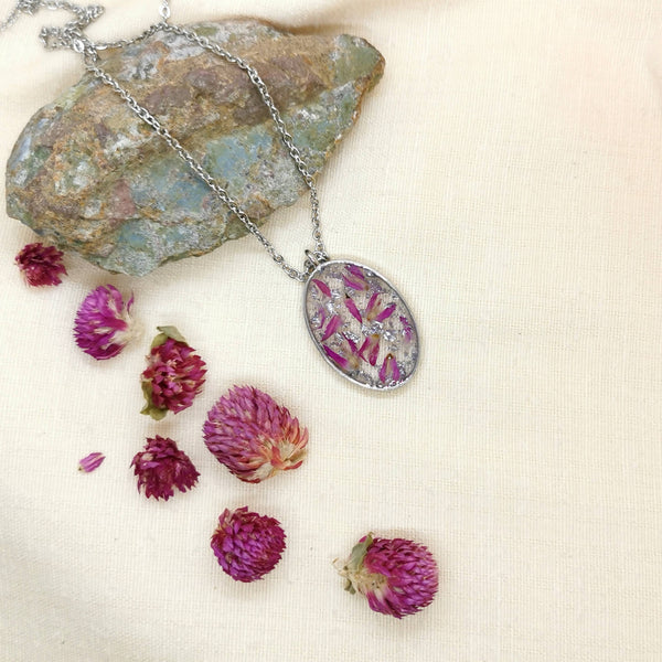 Amaranth Flower Necklace w/ Silver Leaf
