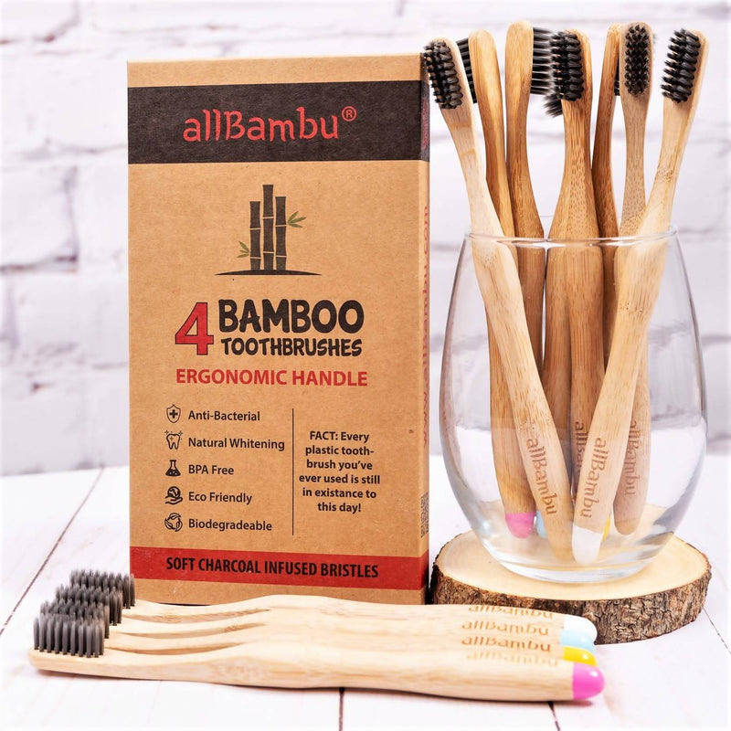 Bamboo Toothbrush - Pack of 4 (Primary Colours)