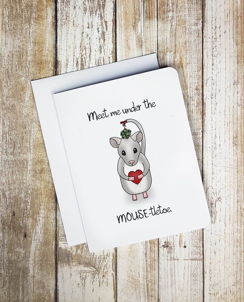 Meet Me Under The Mouse-tletoe Christmas Card