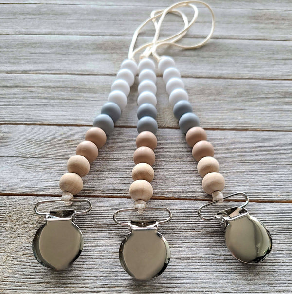 Avery - pacifier clip | wooden + silicone beads | teether chain