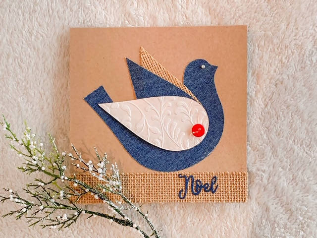 CHRISTMAS CARD DENIM DOVE