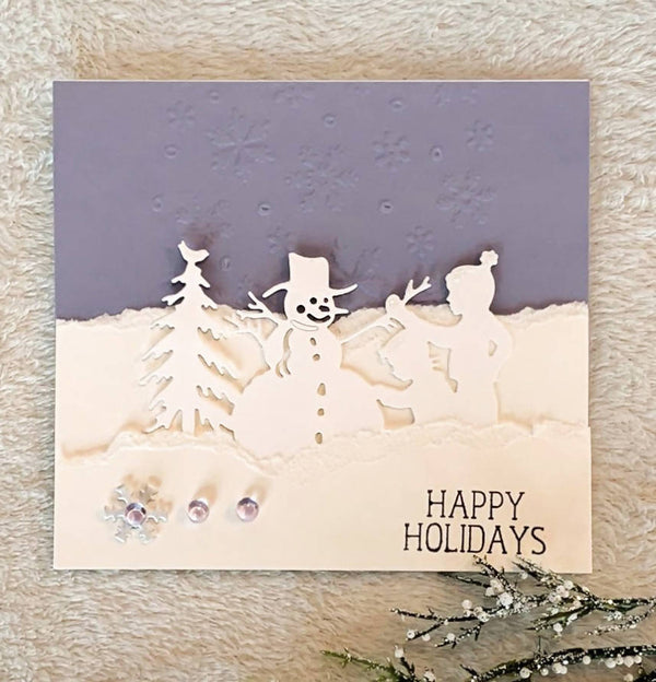 CHRISTMAS CARD SNOW SCENE KIDS PLAYING