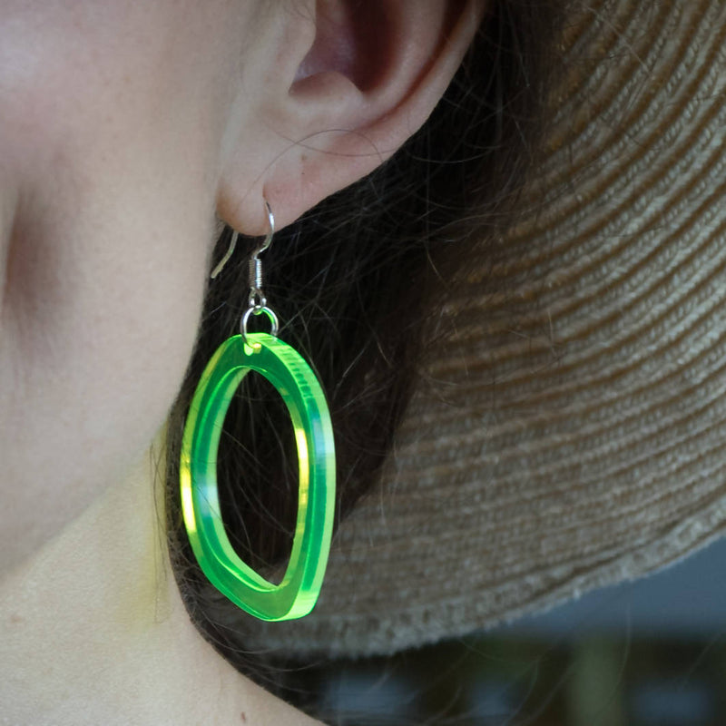 Neon Acrylic 'Wavy' Small Hoop Earrings