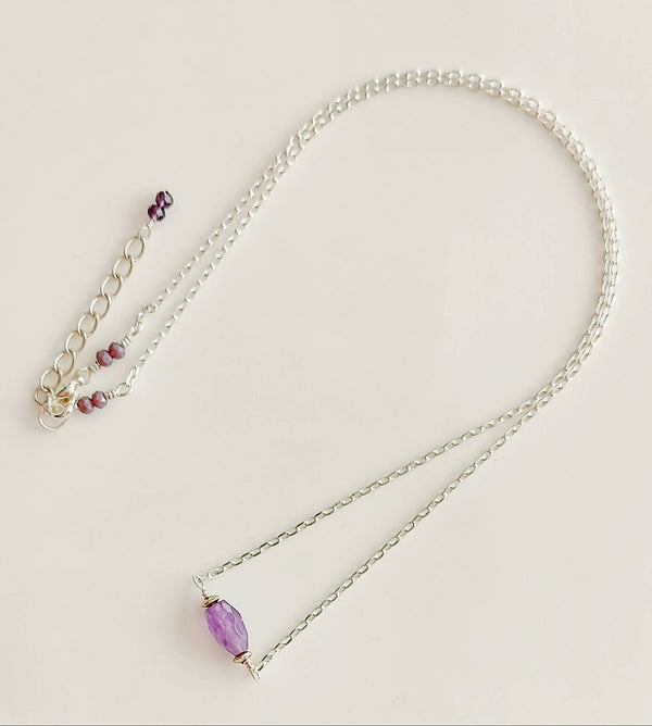 Solitary stone necklace - Amethyst