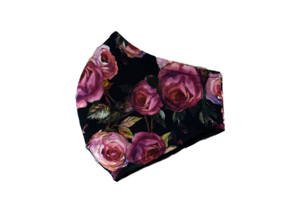 Medium Reusable Fabric Face Mask with Filter Pocket - Store Pickup Option - Dark Roses