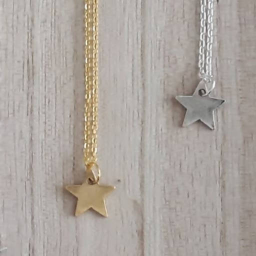 Antique Silver Plated Pewter Star Charm Necklace