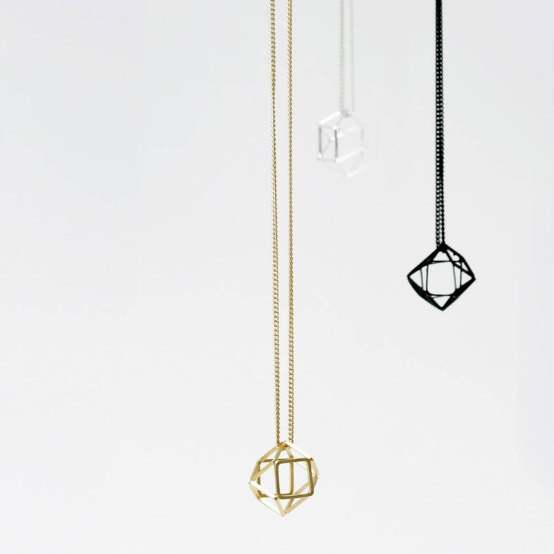 HOLLOW 3D HEXAGON Long Necklace