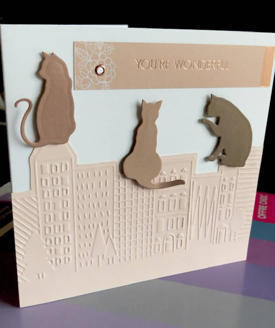 Greeting Card, Urban Cats on the cityscape. Dimensional