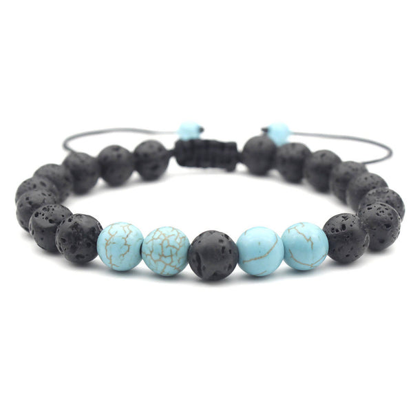 Black Lava Rock Essential Oil Bracelet with Turquoise Gem Stone