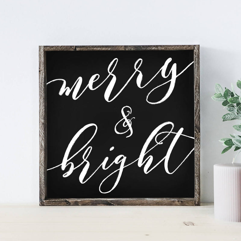 Merry And Bright Black Wood Sign
