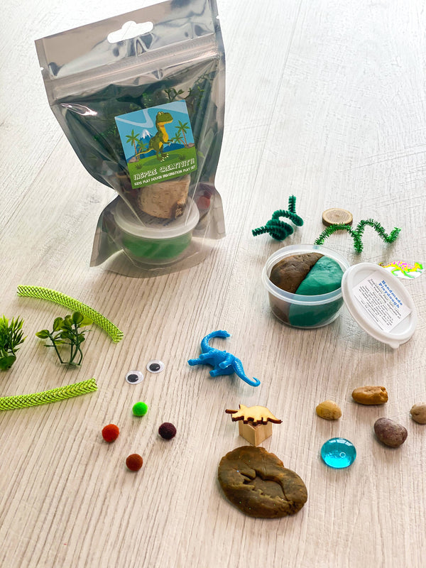 Travel Size Dinosaur theme play dough sensory play bag kit