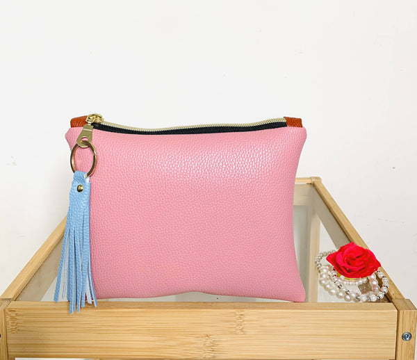 Faux Leather Flat Pouch- Pink