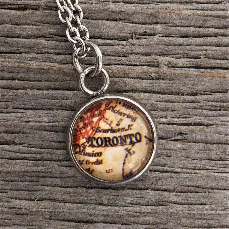 Vintage Toronto Map Necklace