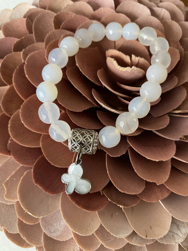 White agate and Butterfly Gemstone Bracelet