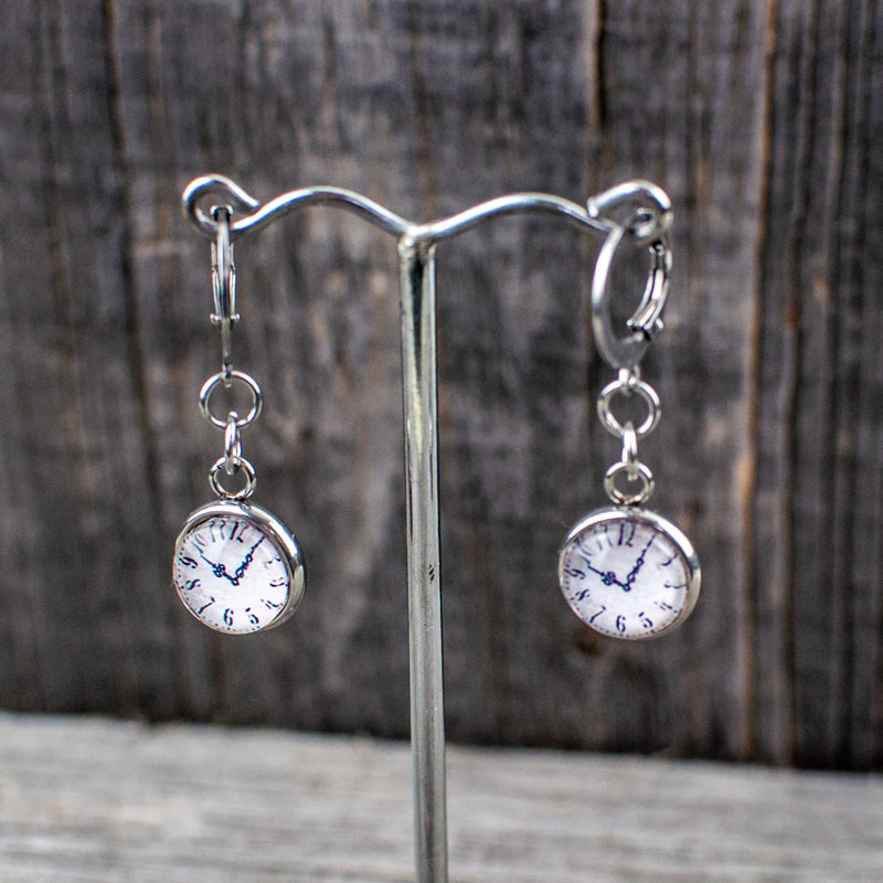 Clock face dangle earrings
