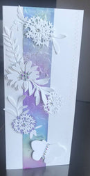 Greeting card 4 x 9. Alcohol Inks Strip. floral cutouts and crystal embellishment