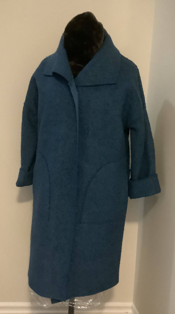 Coat boiled wool CBW-S blue