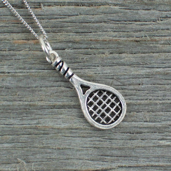 Tennis Racquet Silver necklace