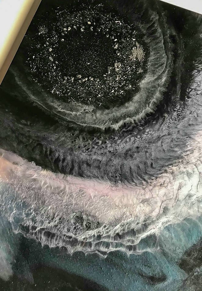 "Gemstone infused 24 X 30 X 1.5"" resin geode painting"