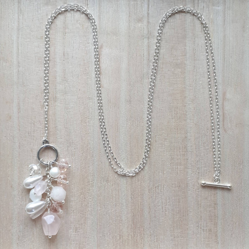 Convertible Necklace - Rose Quartz and Freshwater Pearl