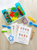Play dough activity kit with activity sheets and DIY play dough recipe card