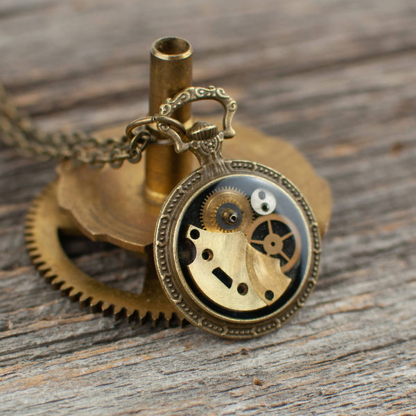 Mini pocket watch necklace