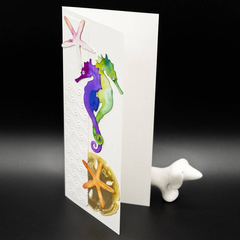 Masculine Greeting Card Ocean Themed. Brilliant alcohol inks and seahorse cut-outs