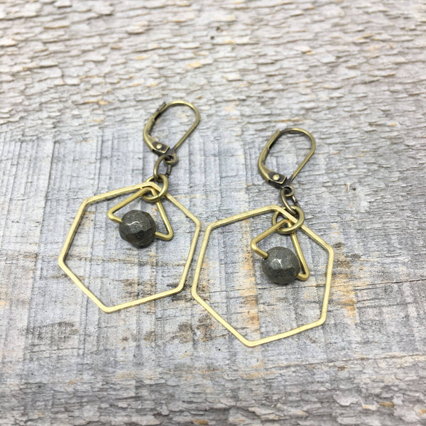 Brass Hexagon Earrings